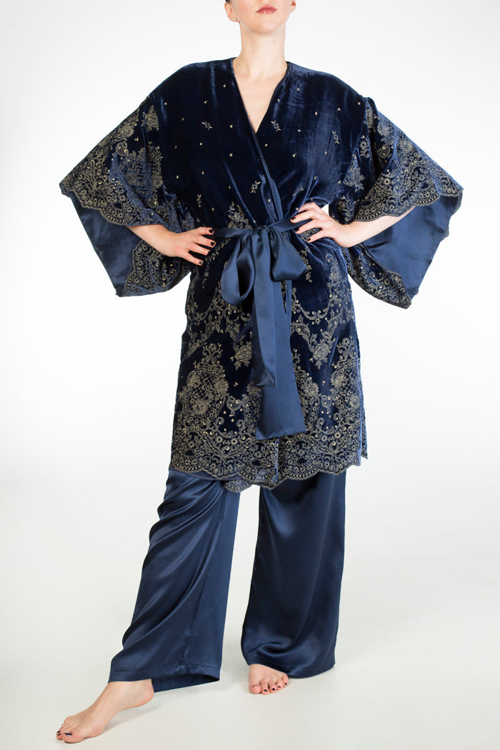 Evelyn Midnight navy embroidered velvet robe