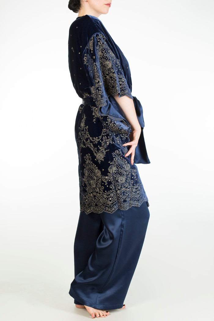 Evelyn midnight luxury wide leg silk pyjama and velvet dressing gown