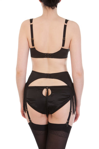 Augusta Jet Fringed Suspender Belt