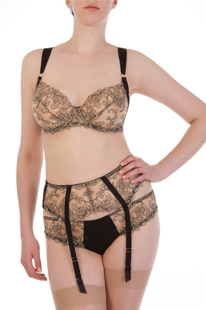 Isabelle cream and black embroidery DD+ luxury lingerie
