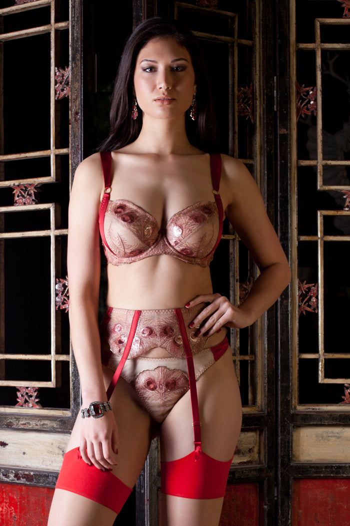 Red silk and gold lace bra for DD bra sizes
