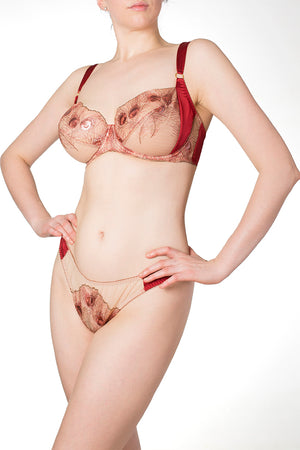 Juliette Red Silk DD-G Cup Bra with luxury metallic gold lace