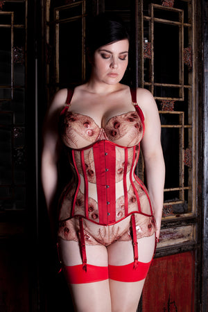Juliette red and metallic gold underbust sheer corset
