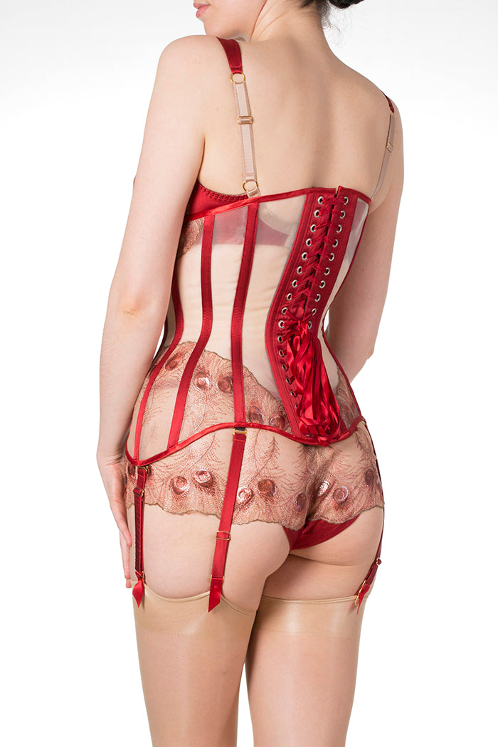 Juliette Red Silk and Embroidery 6 Suspender Strap Corset