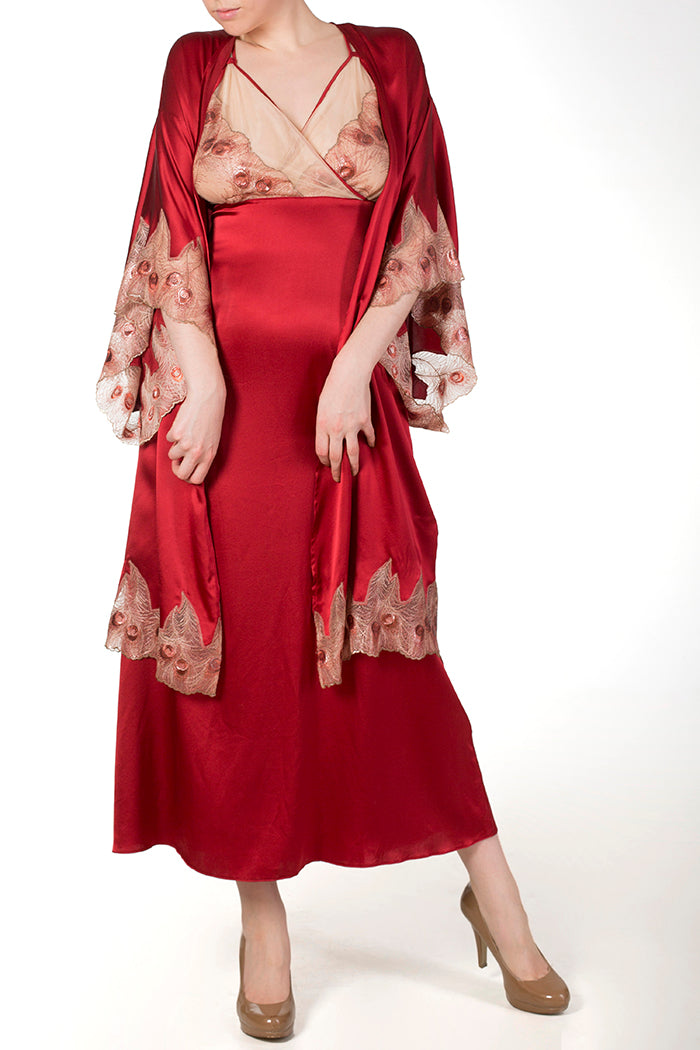 Juliette Red Silk Gown and Co-ordinating Kimono