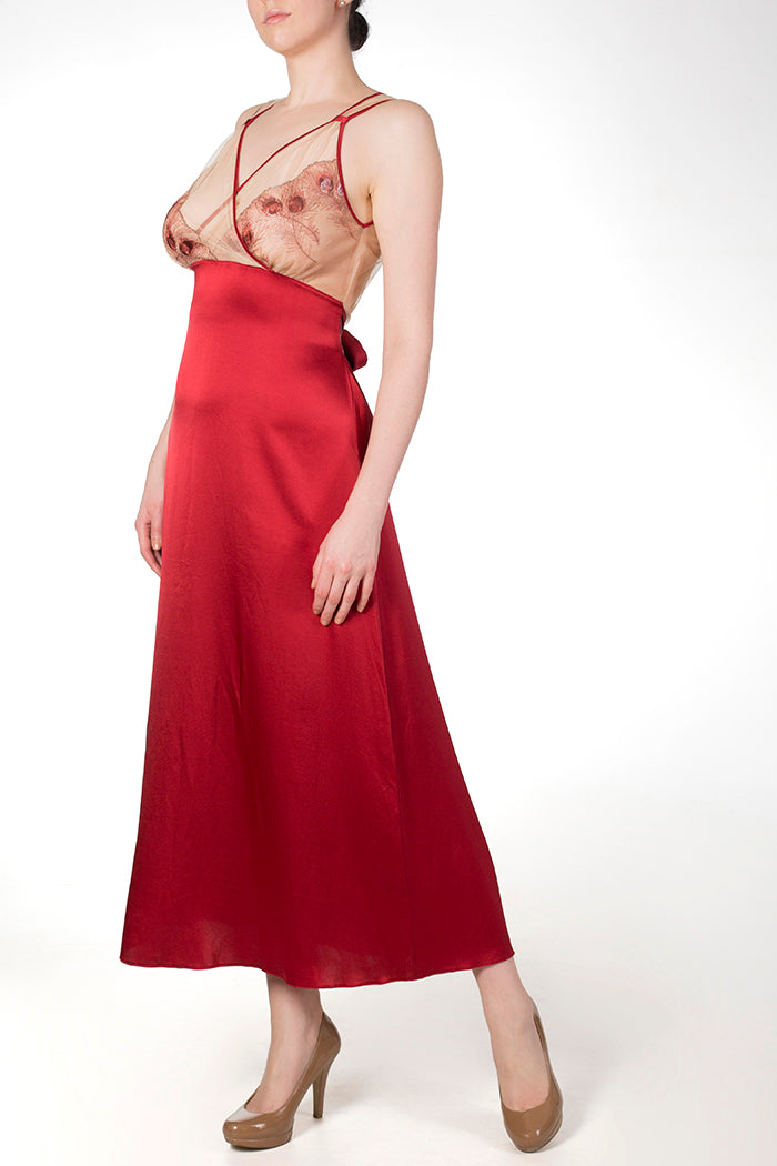 Juliette Draped Back Gown in Red Silk