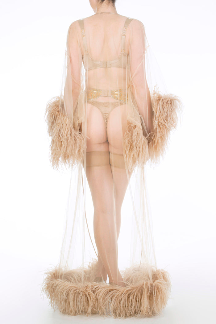 Juliette Hazel Sheer Ostrich Feather Robe and Gold Lingerie