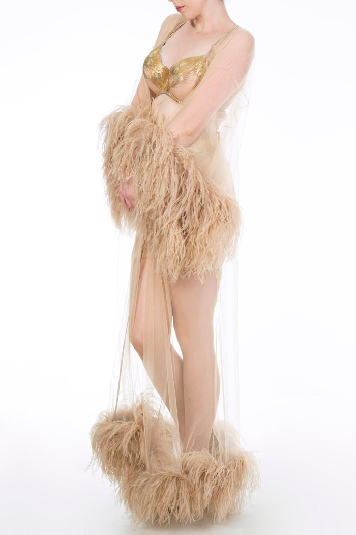 Juliette Hazel Luxury Feather Robe and Metallic Gold Lingerie
