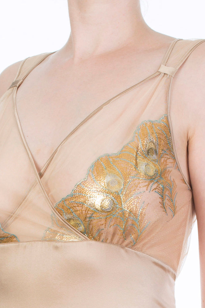 Juliette Hazel Luxury Metallic Gold Nightdress Detail