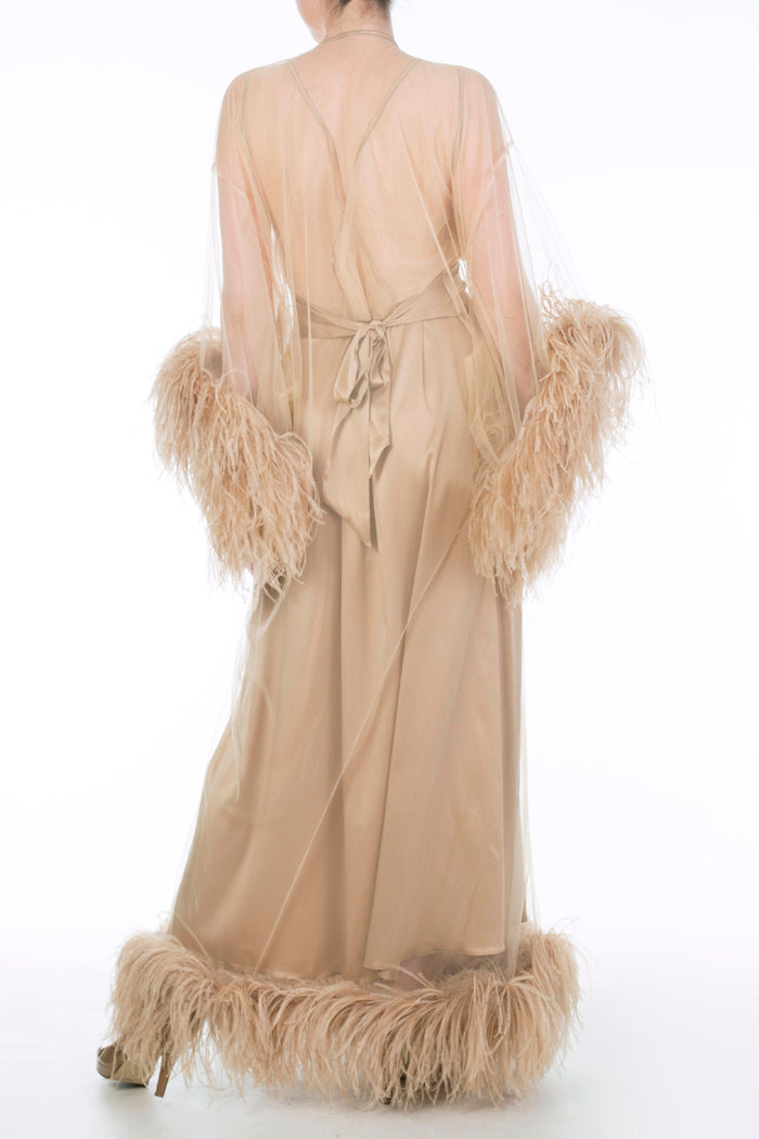 Juliette Hazel Sheer Floor Length Feather Robe and Gold Silk Nightgown