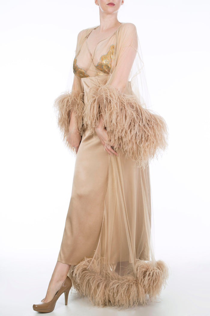Juliette Hazel gold ostrich feather robe and luxury silk nightgown