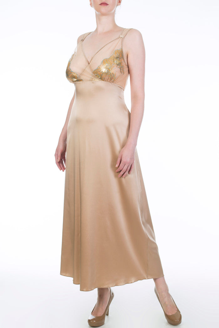 Juliette Hazel Gold Silk and Embroidery Bust Supportive Nightgown