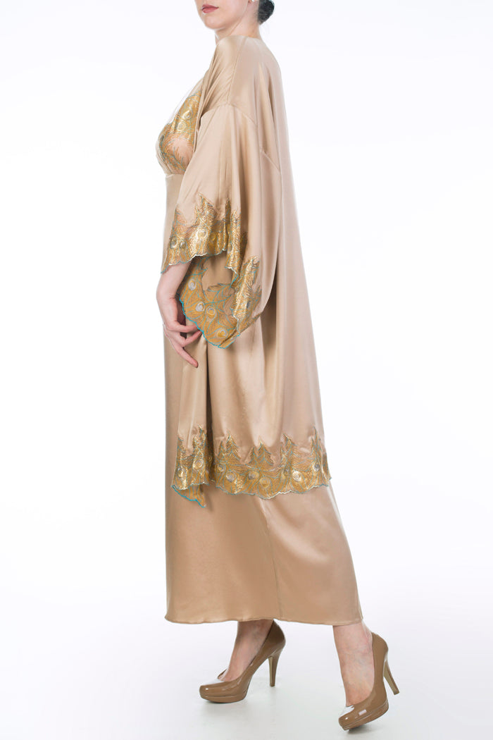 Juliette Hazel luxury gold silk robe and nightgown by Harlow & Fox