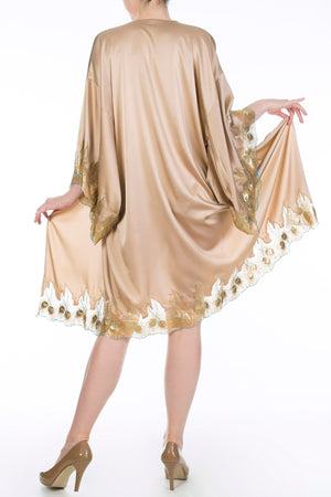 Luxury gold silk robe with gold lace and wide kimono style sleeves, Juliette Hazel by Harlow & Fox