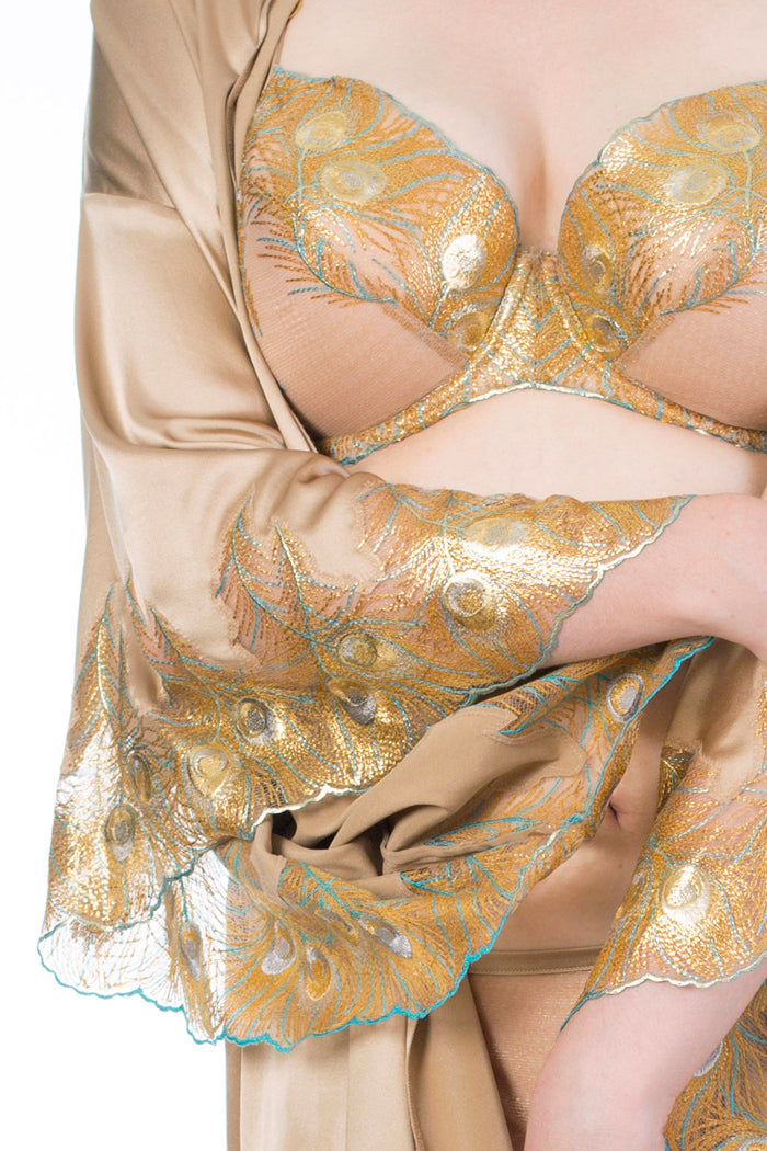 Juliette Hazel metallic gold luxury DD - G cup bra and gold silk robe detailing, Harlow & Fox