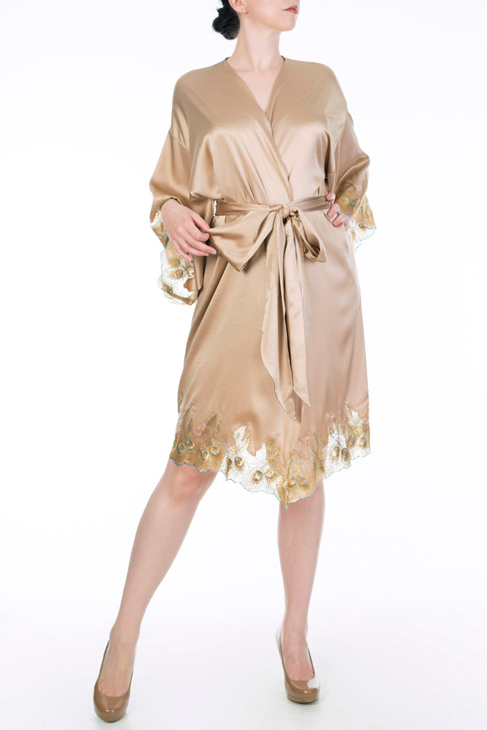 Gold silk dressing gown with metallic gold lace applique and gold silk belt
