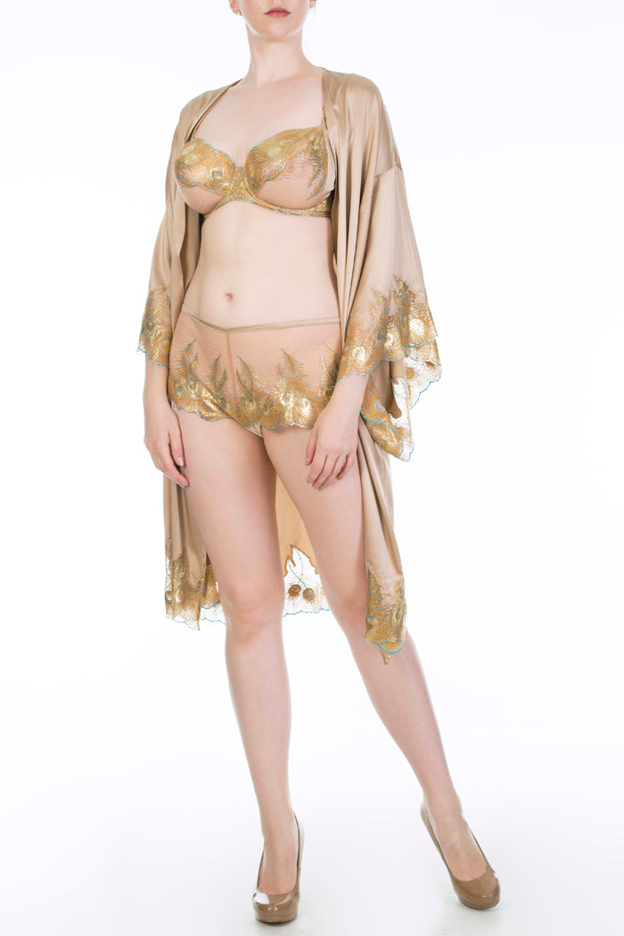 Juliette Hazel gold silk robe with metallic gold DD+ lingerie