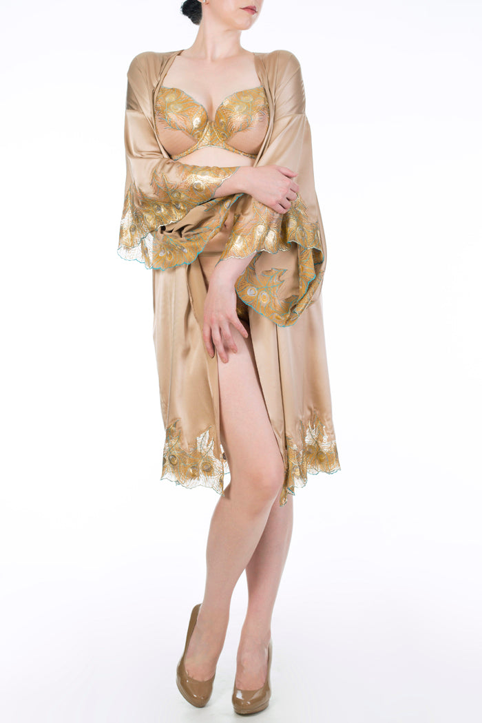 Gold silk robe with matching metallic gold lingerie, Juliette Hazel by Harlow & Fox