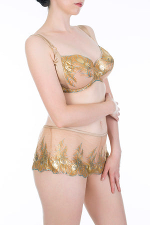 Juliette Hazel Metallic Gold Luxury DD - G Cup Bra and Shorts
