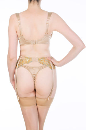 Juliette Hazel Gold Silk Lingerie, Thong and Garter Belt