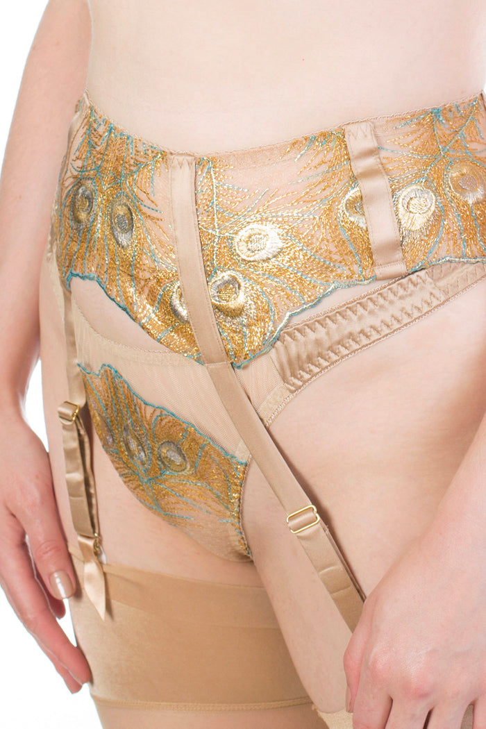 Juliette Hazel Metallic Gold Luxury Garter Belt