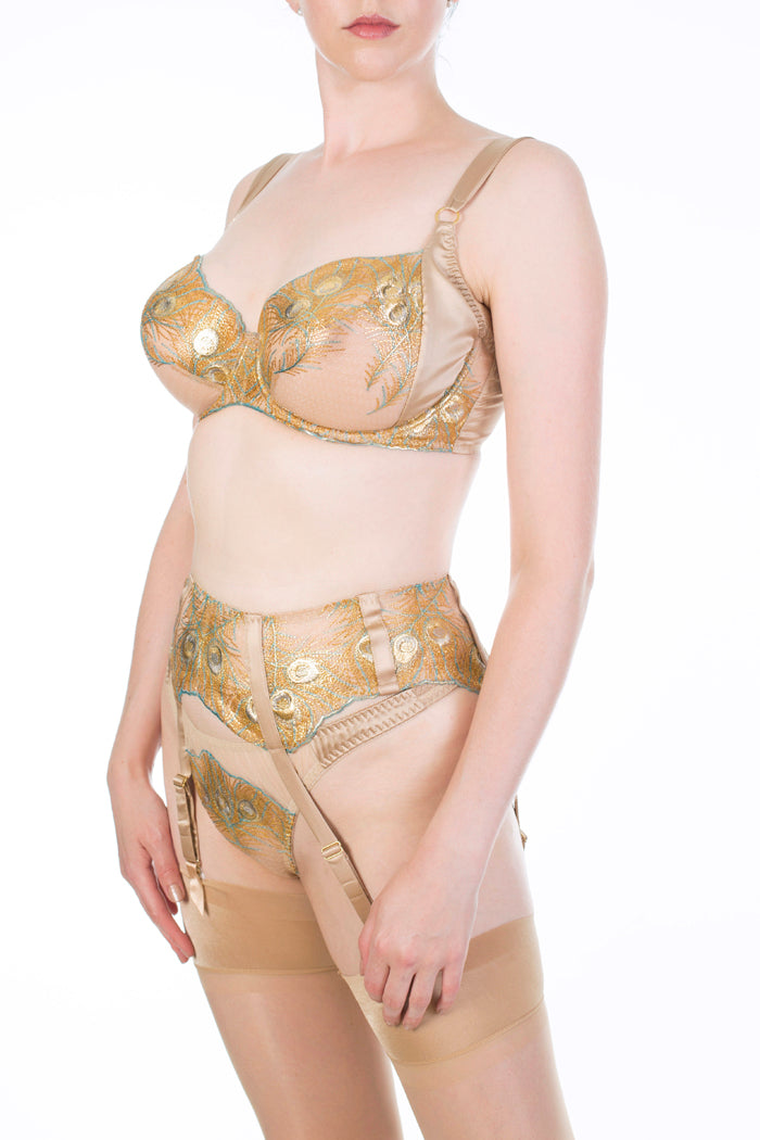 Juliette Hazel Metallic Gold Luxury Lingerie and Garter Belt