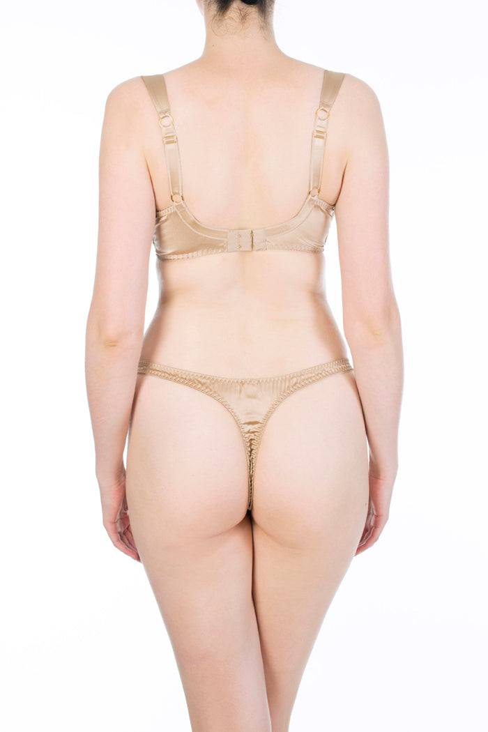 Juliette Hazel Gold Silk Luxury Bra and Thong