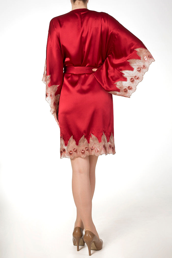 Juliette red silk robe with kimono sleeves and gold lace trim