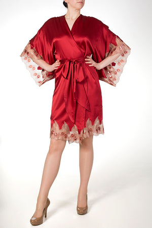 Red silk robe with metallic embroidery, Juliette Red by Harlow & Fox