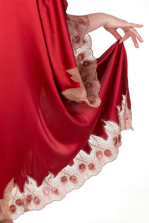 Juliette red silk robe, gold peacock feather embroidery closeup