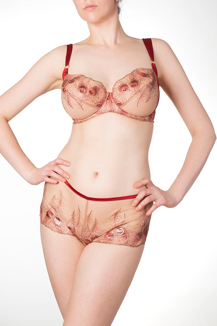 Juliette luxury red and gold lingerie for DD - G cup sizes
