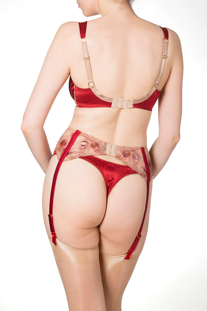Red and gold luxury lingerie with suspender belt and thong, Juliette by Harlow and Fox