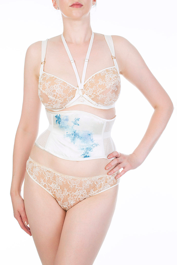Eira ivory strapping harness and luxury bridal lingerie