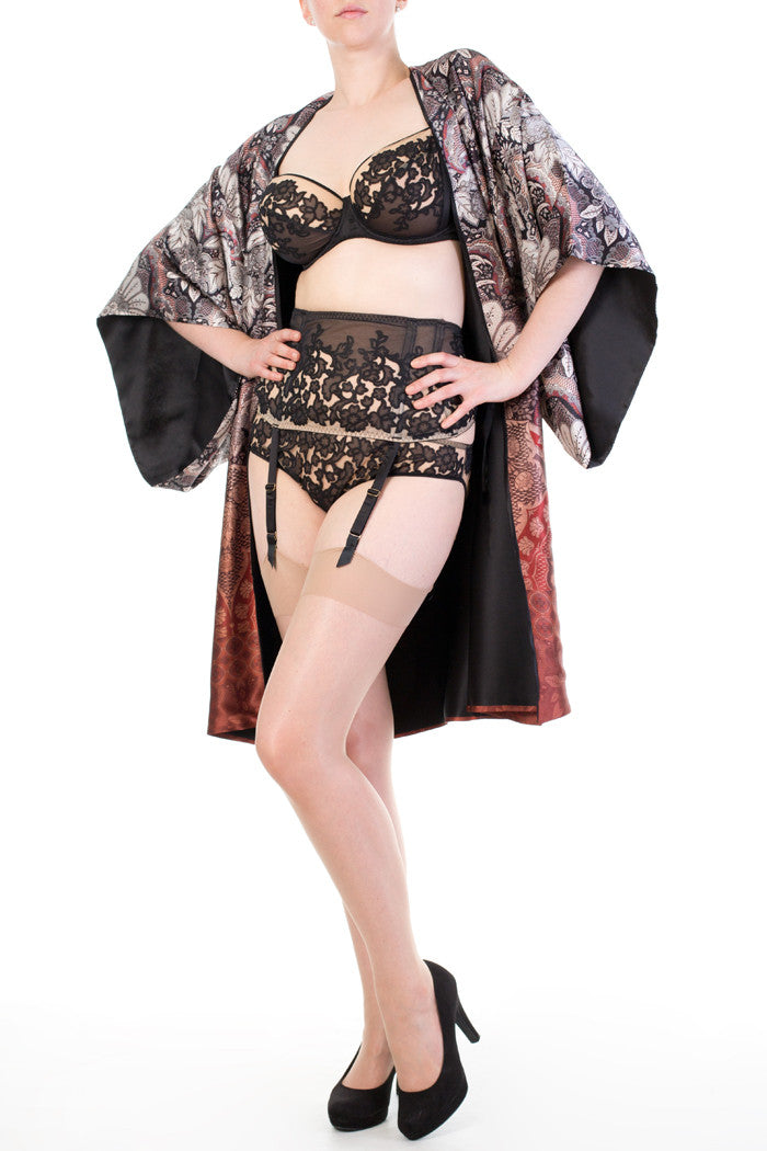 Katerina geometric patterned silk robe