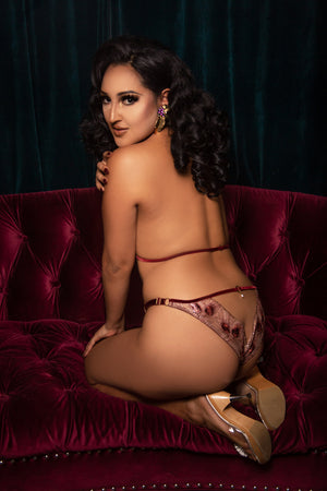 Open back brief in luxury gold lace with red velvet harness and pearl