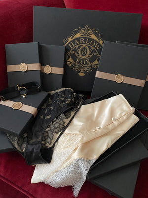 Lingerie gift box set with silk tap pants and sheer lace knicker