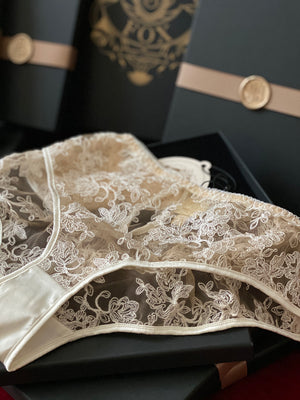 Ivory lace briefs in luxury black velvet lined gift box