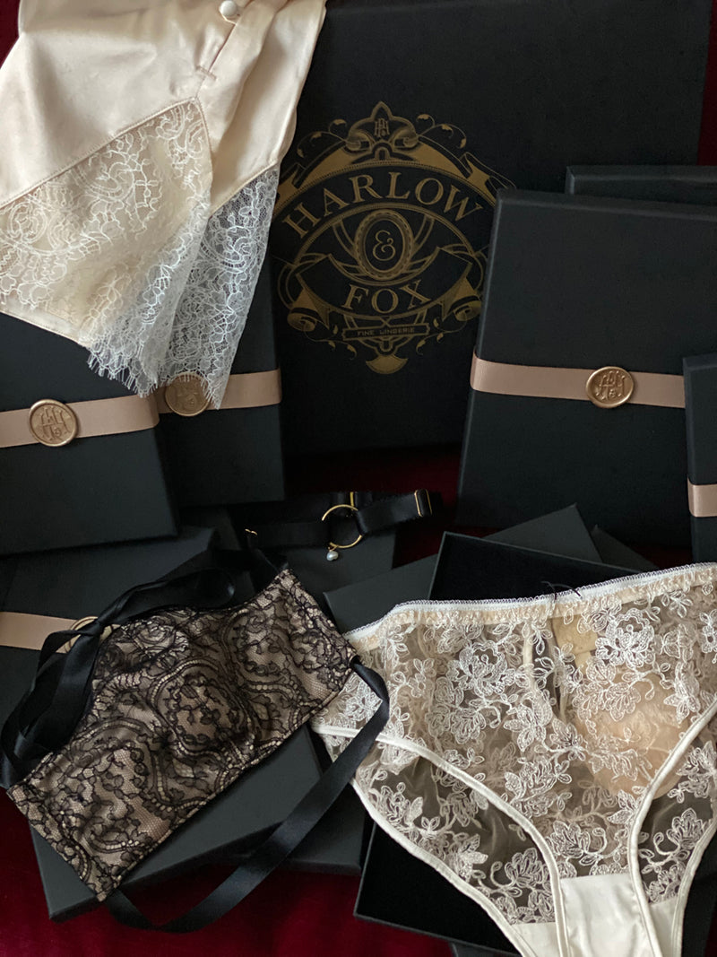 Lingerie gift box set with luxury face mask, sheer lace knickers and silk tap pants