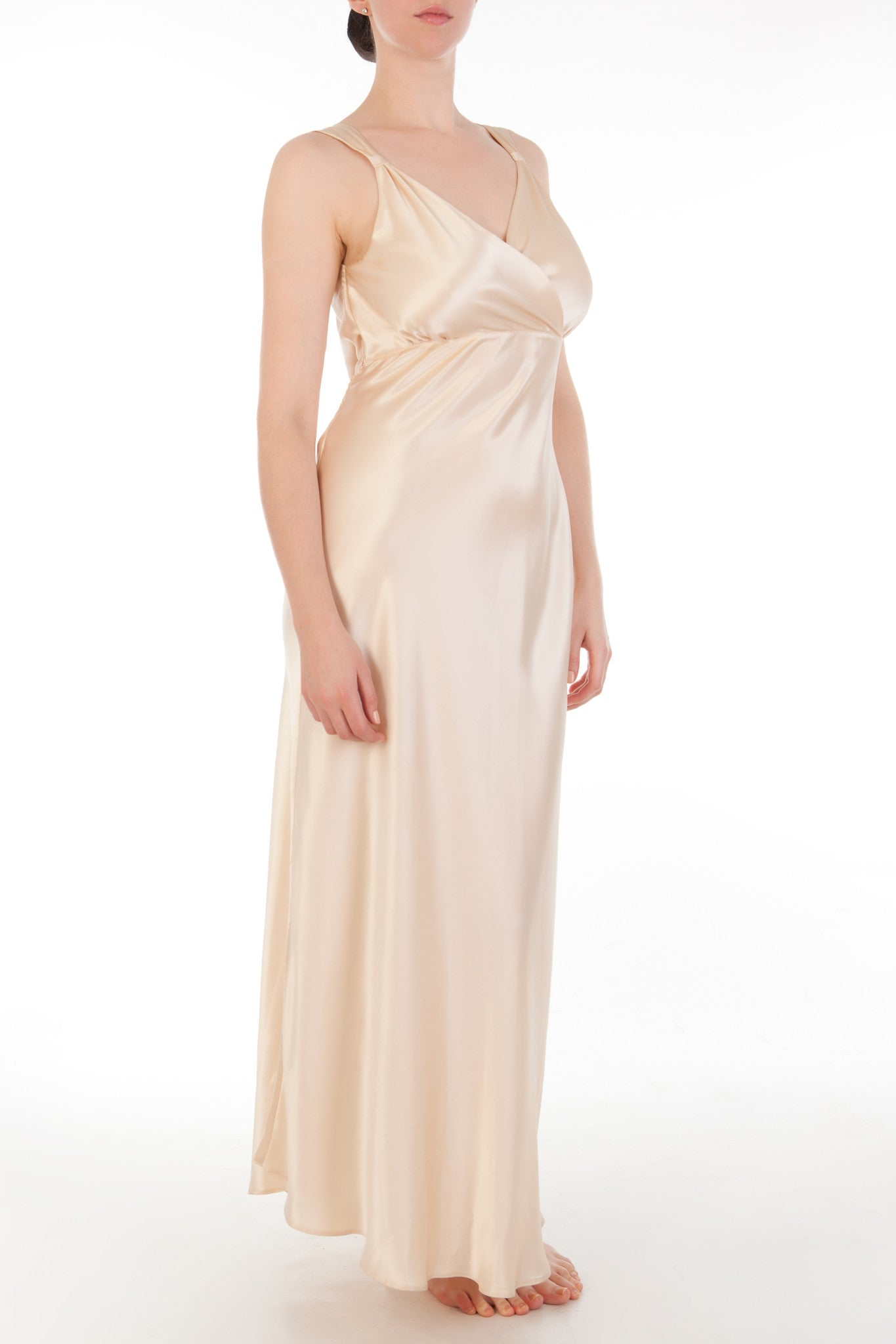Eleanor Almond Draped Back Gown