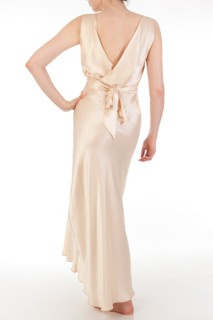 30s style draped back silk nightgown