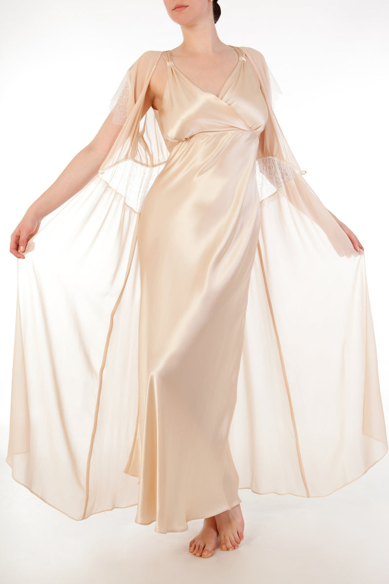 Full bust silk nightgown with sheer georgette robe