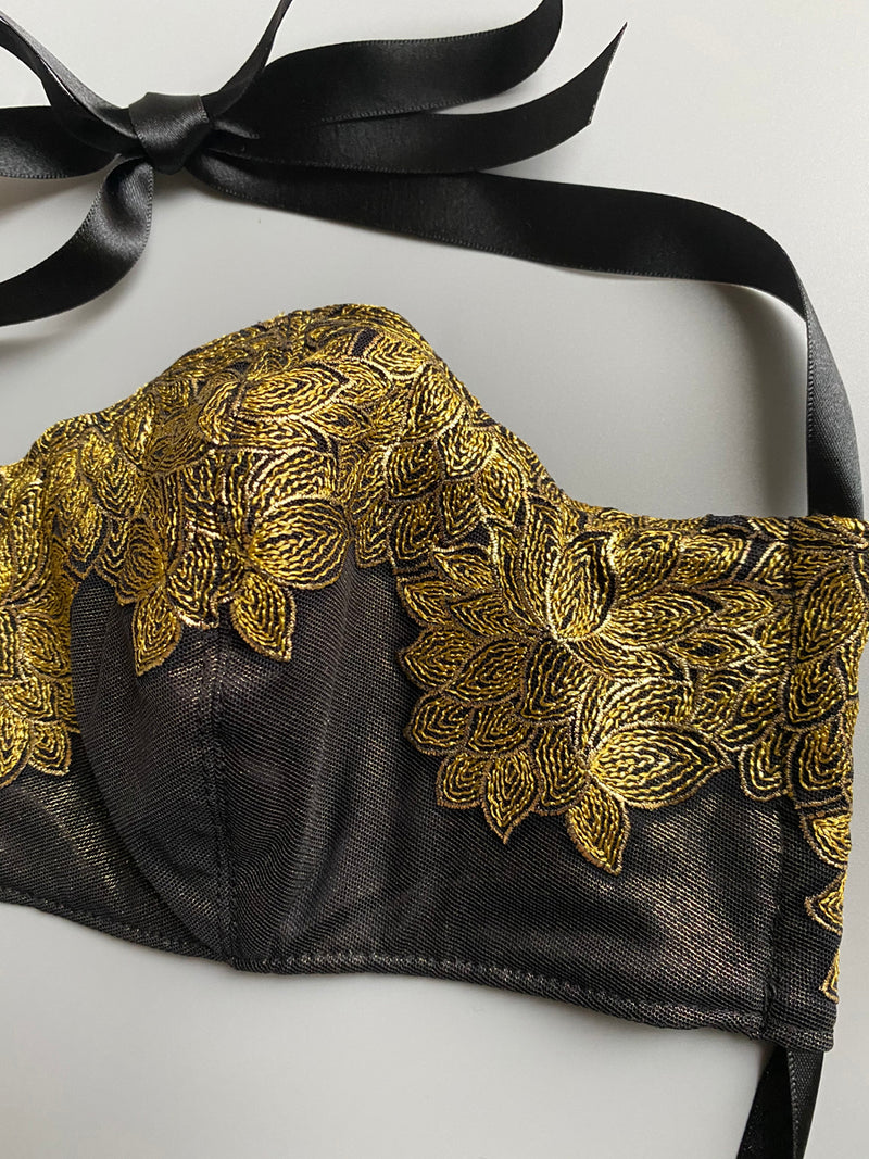 Luxury metallic gold leaf design embroidery on luxury silk face mask