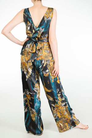 Nova blue and gold silk print pyjamas