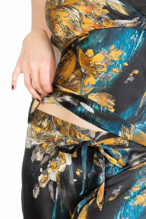 Nova blue and gold printed silk pyjamas waist tie