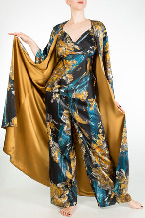 Nova blue and gold print pyjamas with double lined long silk robe