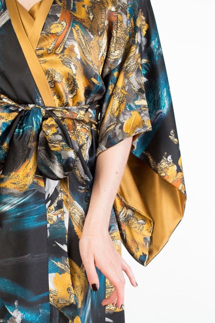 Nova blue and gold silk print robe sleeve detail