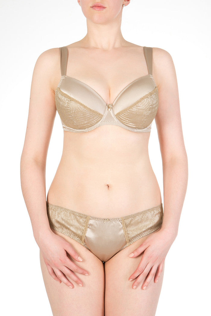 Ophelia gold lace and silk luxury full bust lingerie set