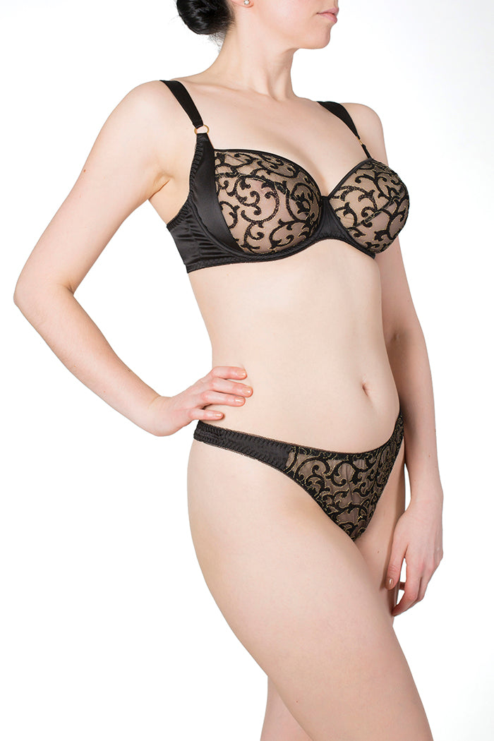 Persephone Black Silk and Embroidery Full Cup Bra