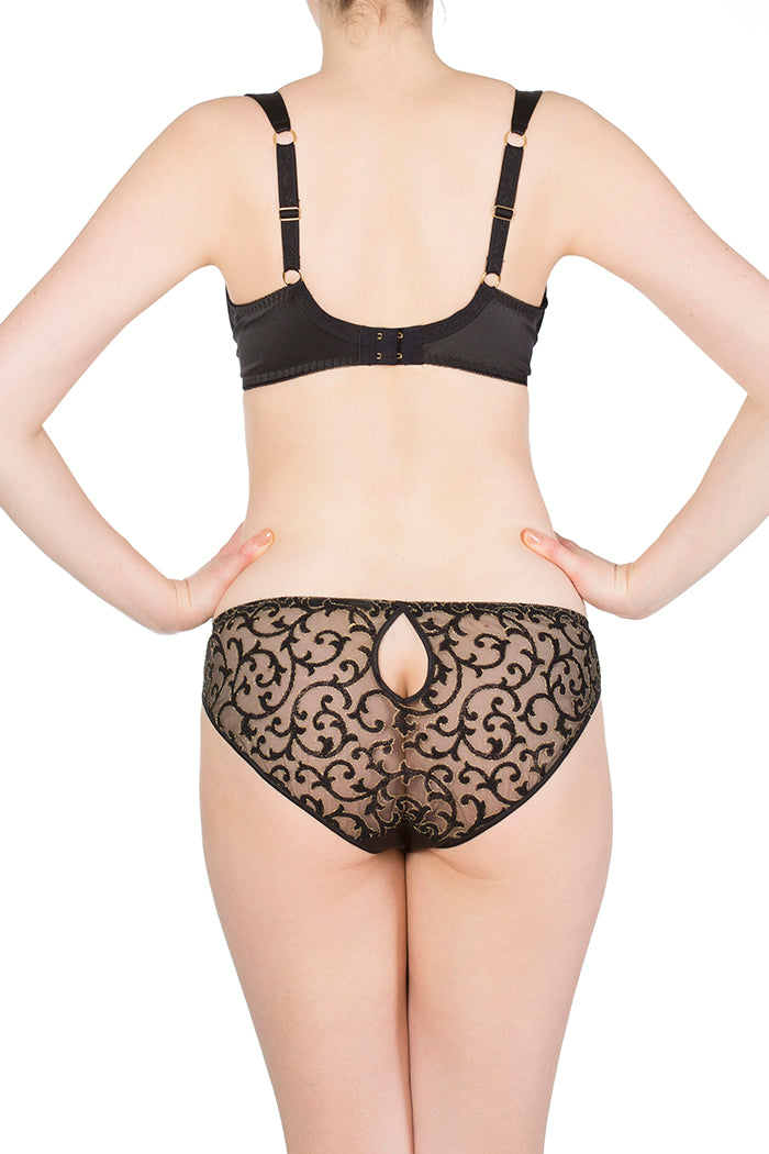 Persephone Black Silk and Embroidery Classic Brief