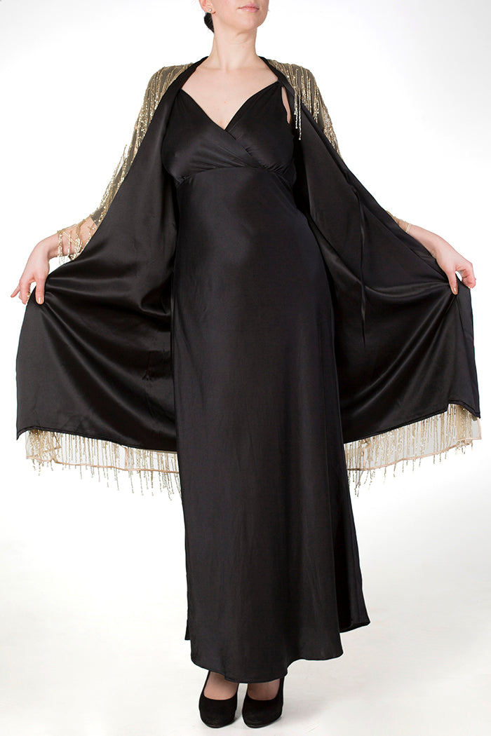 Persephone Draped Back Silk Gown with Layered Kimonos